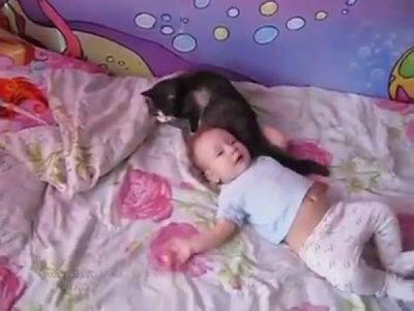 Bebê chorando, gatinha da família chega perto para consola-la!!!