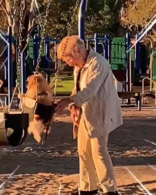 Senhora brincando de balançar seu cachorrinho no balanço, que lindo!