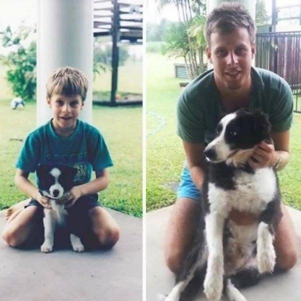 Vídeo com fotos de donos de cachorro quando eram crianças e adultos, muito legal