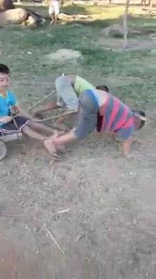 Brincadeira de criança, eles parecem estar se divertindo, confira!