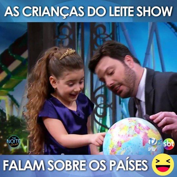 Crianças em programa de televisão falando sobre países, confira!