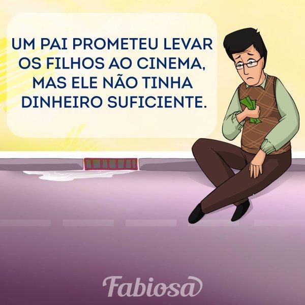 Pai no cinema para assistir um filme com sua família, para mais atitudes assim!