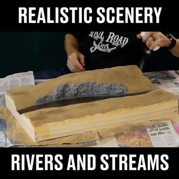Impressionante miniatura de rio com arvores e pessoa pescando!!!