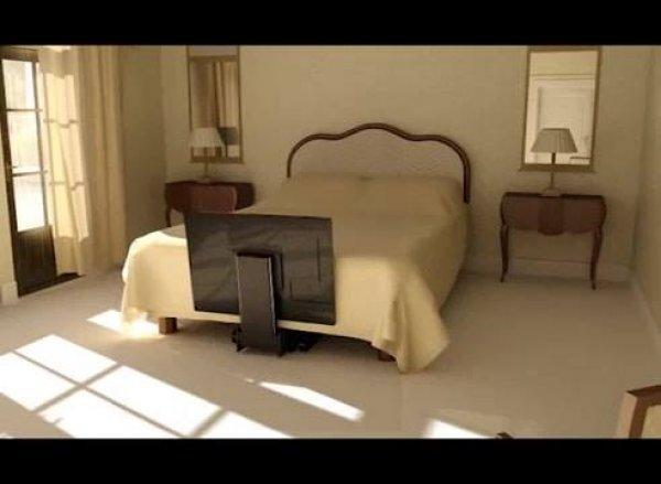 Cama com televisão que sai de baixo dela, olha só que interessante!!!