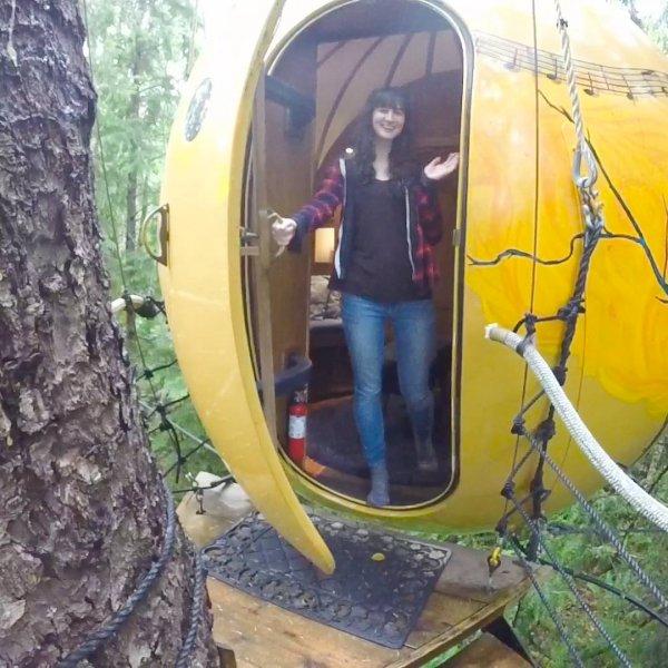 Interessante casa na árvore em forma de bola, uma ótima ideia para relaxar!!!