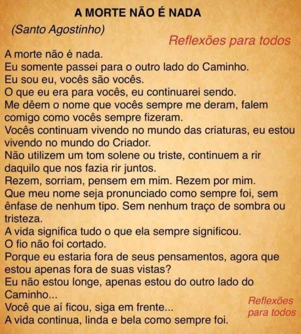 Mensagem interessante para refletir de Santo Agostinho, compartilhe!!!
