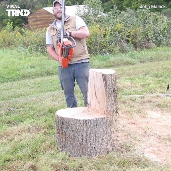 Banco feito com tronco de árvore, o resultado é incrível, confira!