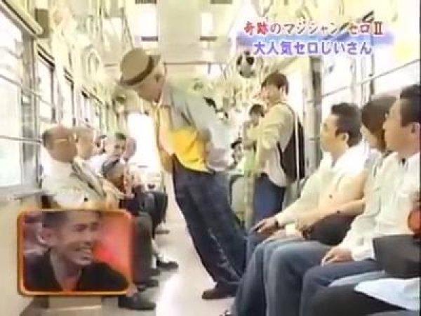 Pegadinha chinesa do velhinho dormindo no trem, muito legal!!!