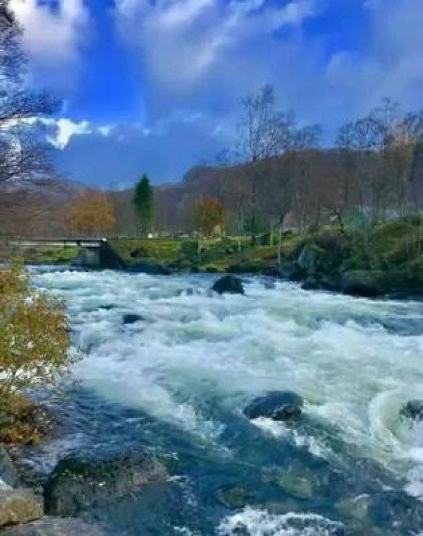 Água correndo em um rio, um minuto para relaxar e apreciar este som!!!