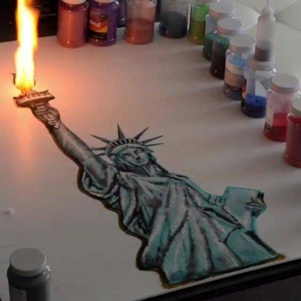 Arte de desenhar com areia colorida e pólvora, vale a pena conferir!!!