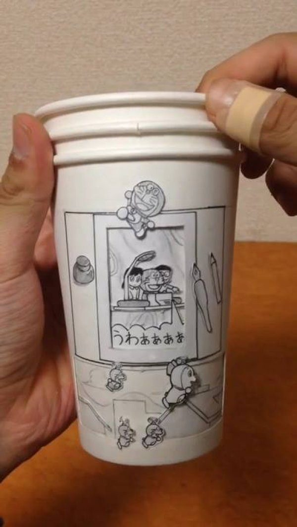 Confira a arte japonesa no copo, simplesmente sensacional a criatividade!