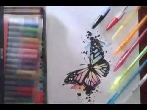 Desenho de borboleta sendo feito, olha só estes detalhes lindos!!!