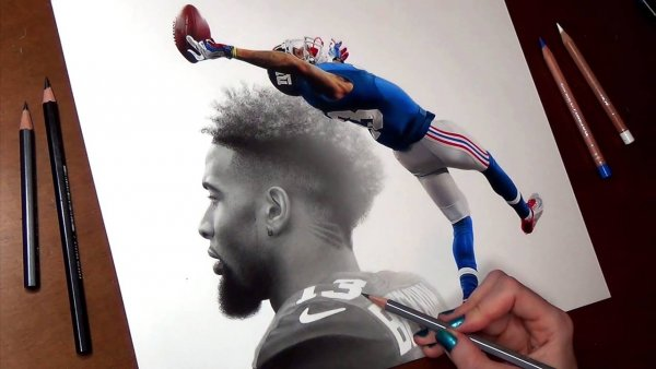 Desenho de jogador de futebol americano, um lindo trabalho artístico!
