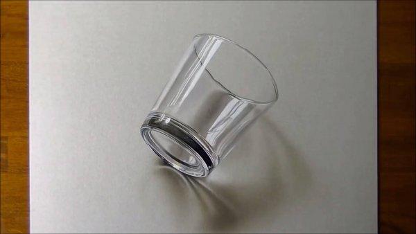 Desenho de um copo em 3D simplesmente perfeito, vale a pena conferir!!!