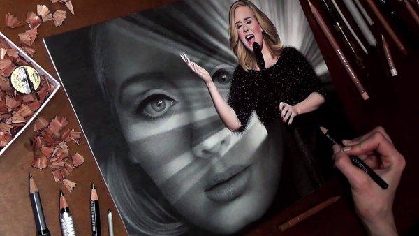 Desenho feito a mão de cantora Adele, simplesmente perfeito!!!
