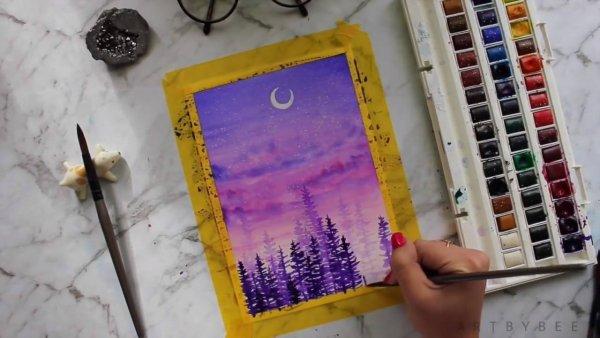 Pintura feita com aquarela, olha só esta paisagem em tons de lilás, roxo e rosa!