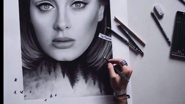 Vídeo de desenhista desenhando cantora Adele, simplesmente fantastico!!!