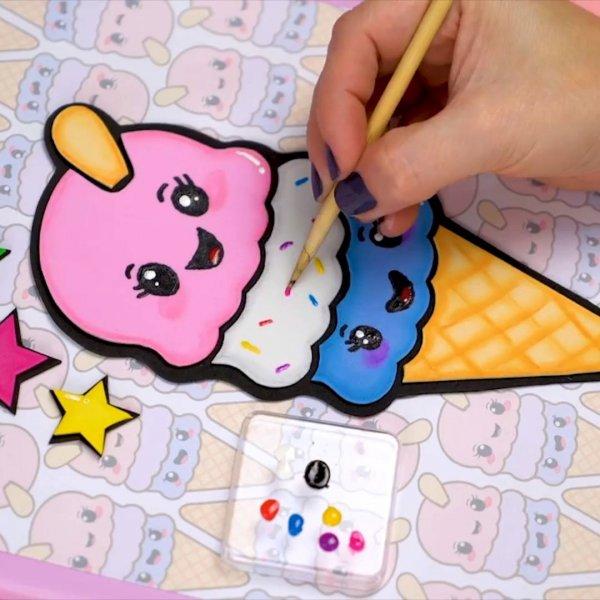 Artesanato de capa de caderno com desenho de sorvete, olha só que fofo!!!
