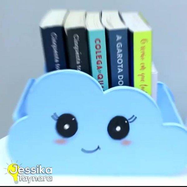 Artesanato de porta livros com formate de nuvem fofinha, você vai se apaixonar!!