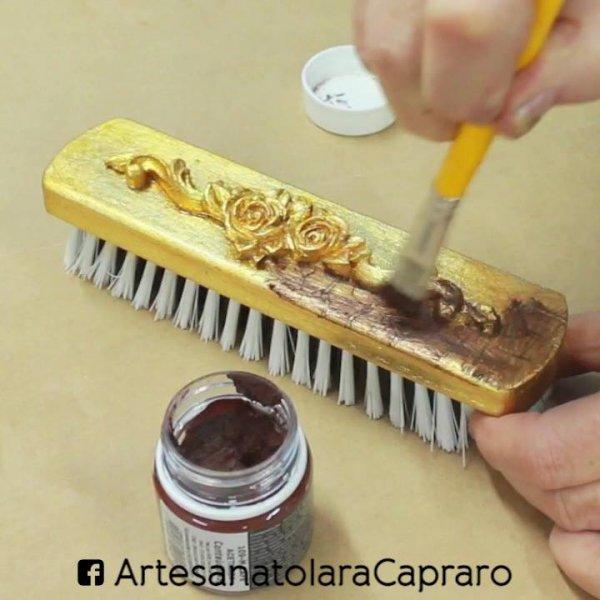 Como fazer customizações folheada a ouro com craquelê, perfeito!