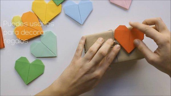 Coração de papel, feito apenas com dobraduras, fica lindo!