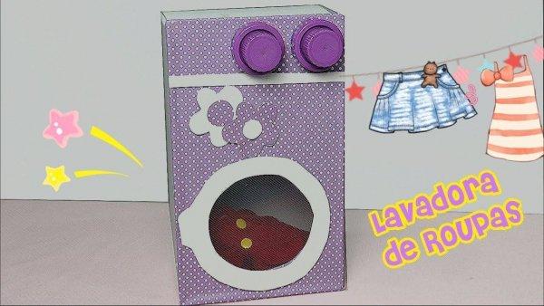 Tutorial de maquina de lavar de brinquedo feita de caixa de sapato!!!