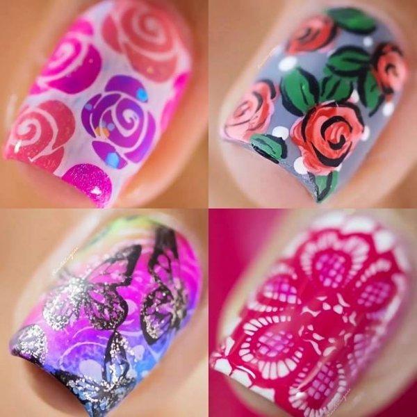 Inspirações de 4 unhas decoradas com carimbos, é uma mais linda que a outra!!!