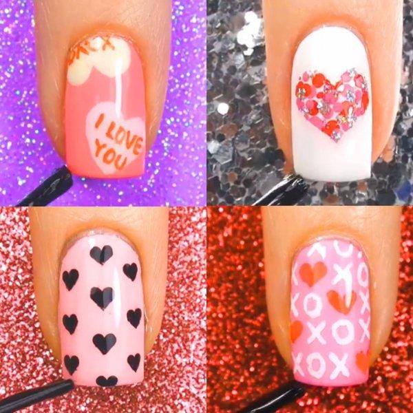 Unhas decoradas com coração, elas são perfeitas para o Dia dos Namorados!!!