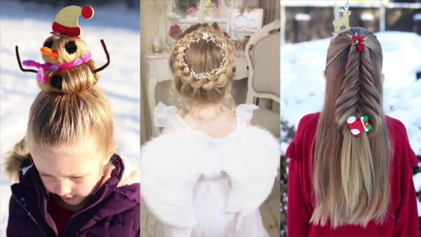 Vídeo com 3 tutoriais de penteados natalinos para meninas, veja que charme!!!