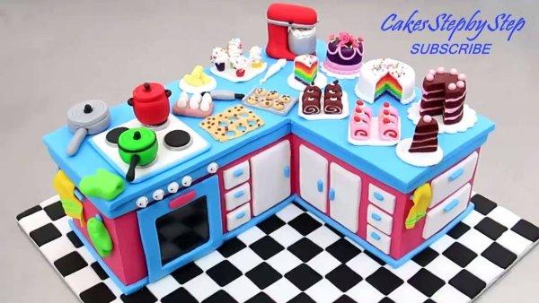 Mini cozinha feita com bolo e pasta americana, que trabalho incrível!